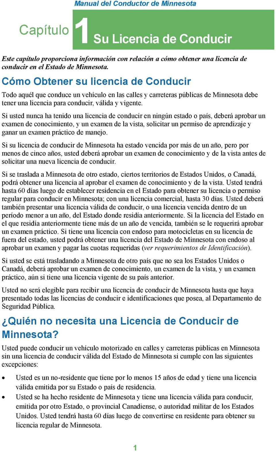 Manual del Conductor de Minnesota - PDF
