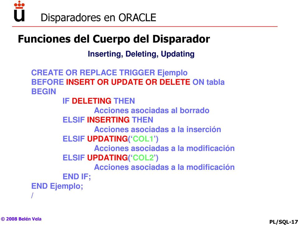 Trigger oracle inserting deleting updating