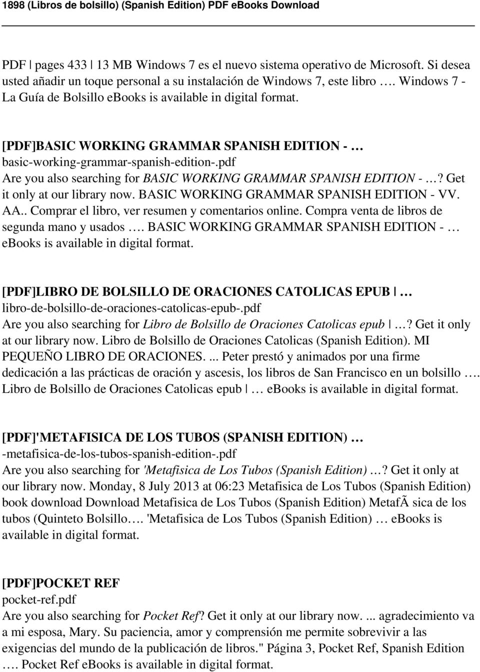 1898 libros de bolsillo spanish edition pdf pdf are you also searching for basic working grammar spanish edition get it only fandeluxe Image collections