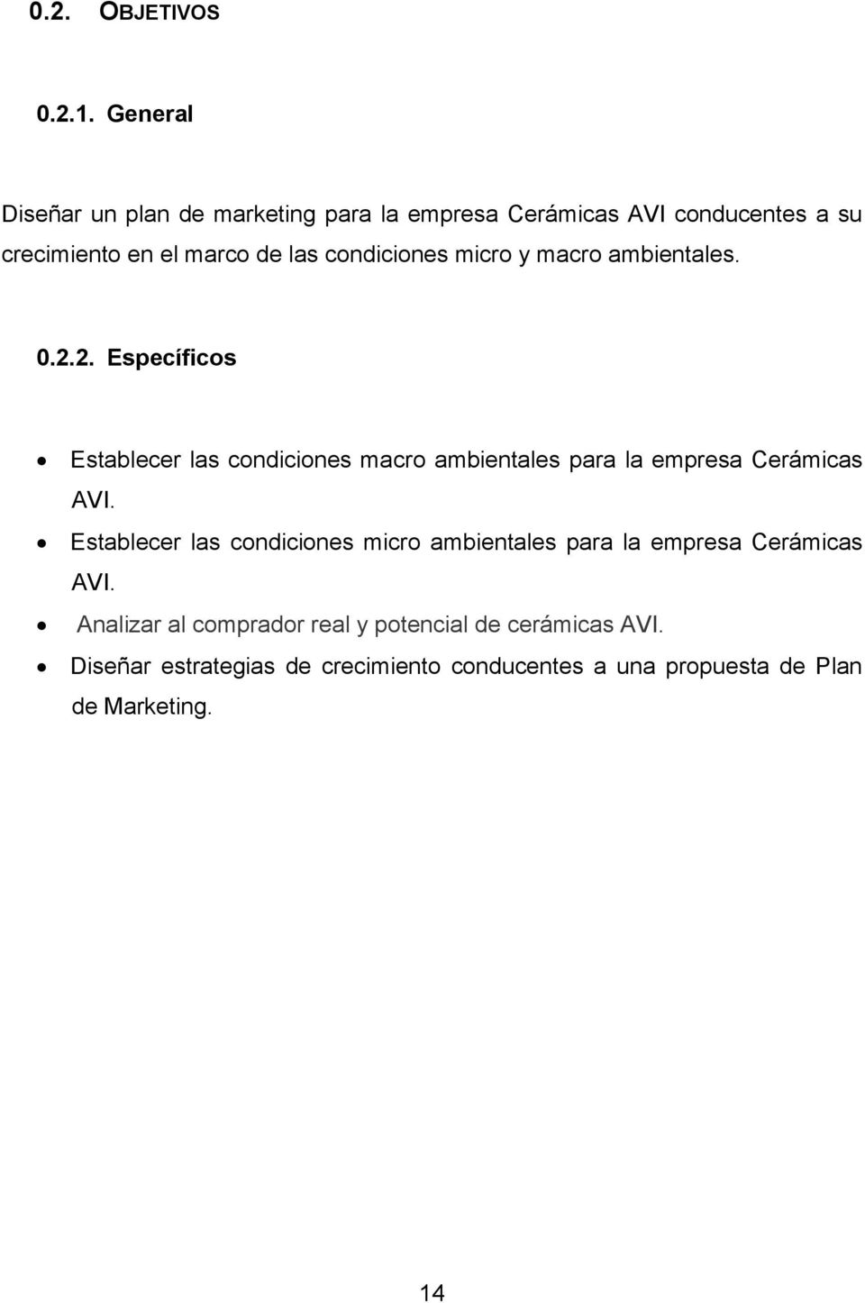 PLAN DE MARKETING PARA LA EMPRESA CERÁMICAS AVI AÑO PDF