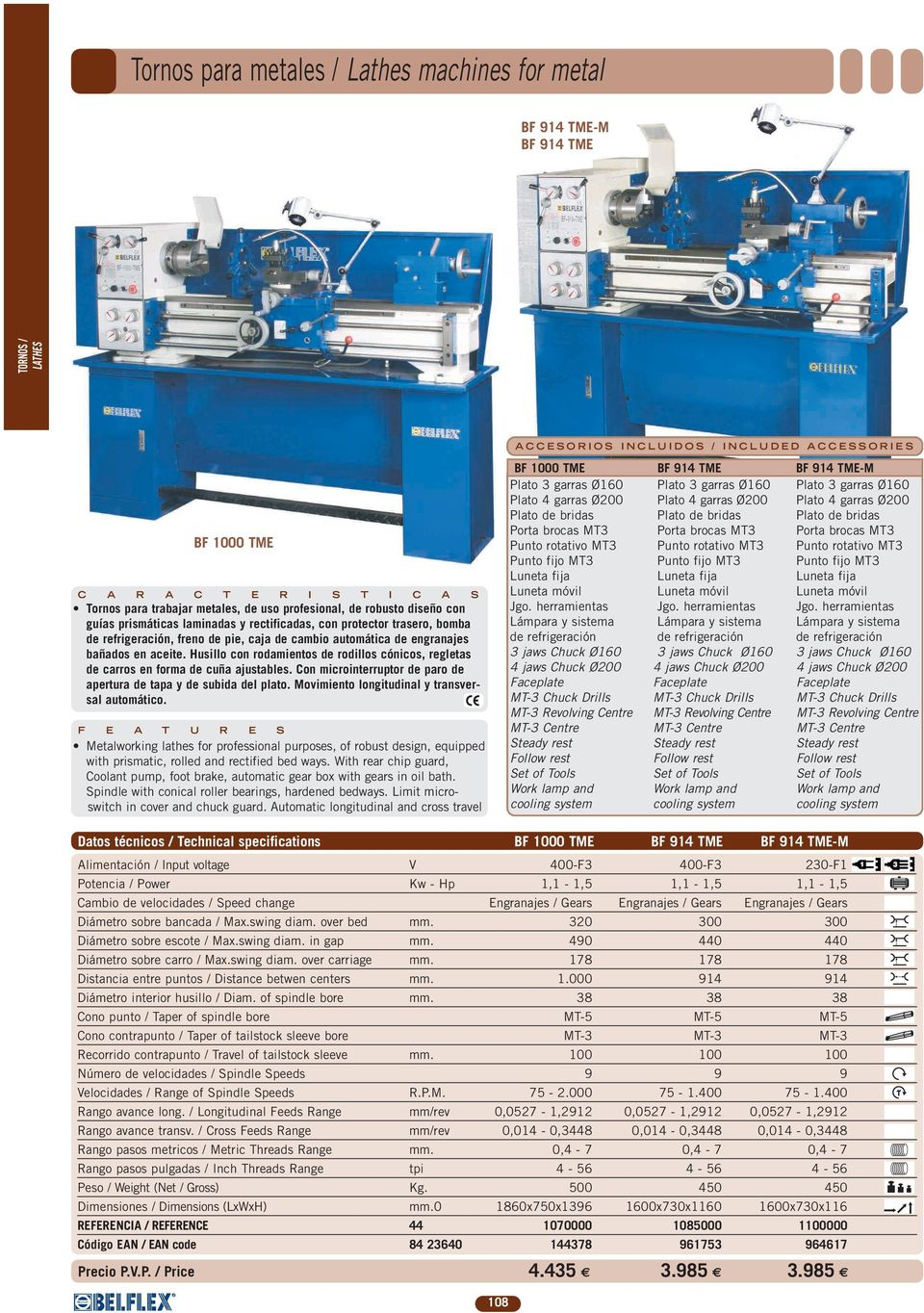 Torno industrial para metal / Industrial lathe machine for metal - PDF