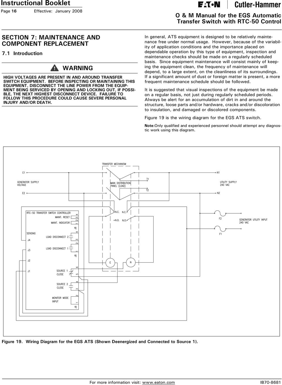 O M Manual For The Egs Automatic Transfer Switch With Rtc 50 Control Wiring Diagram Failure To Follow This Procedure Could Cause Severe Personal Injury And Or Death 17
