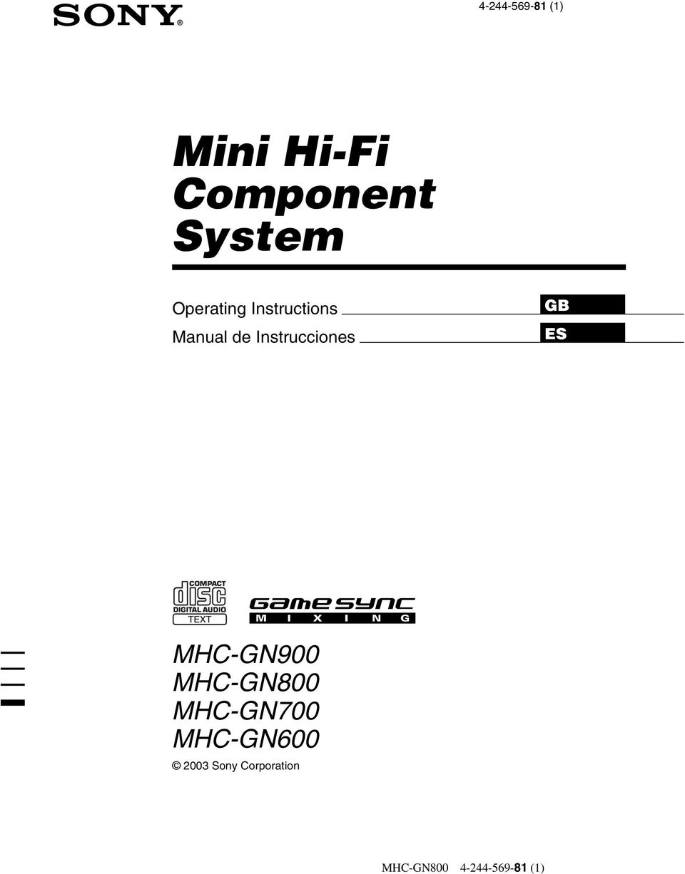 sony hcd gn700 hcd gx8800 mini hi fi component system repair manual