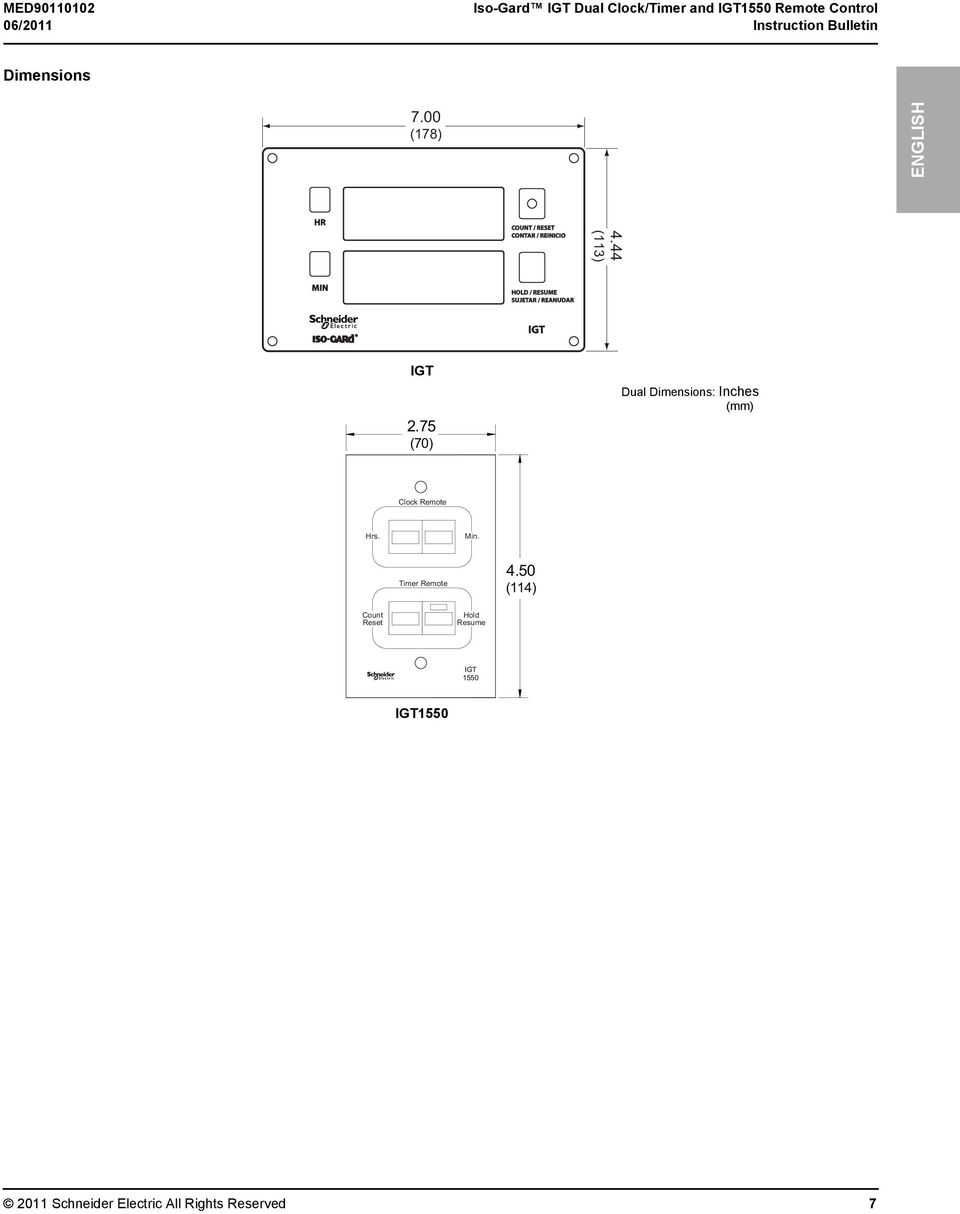 Iso-Gard IGT Dual Clock/Timer and IGT1550 Remote Control - PDF