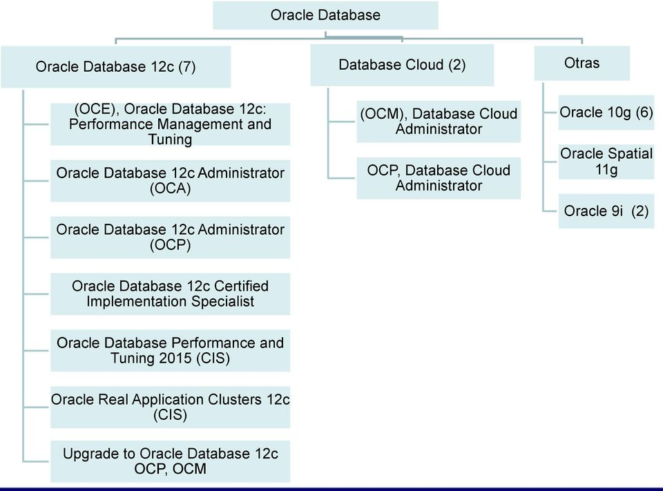 Database Cloud Administrator Oracle 10g (6) Oracle Spatial 11g Oracle 9i (2) Oracle Database 12c Certified Implementation