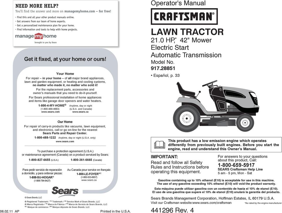 Lawn Tractor 21 0 Hp 42 Quot Mower Electric Start Automatic