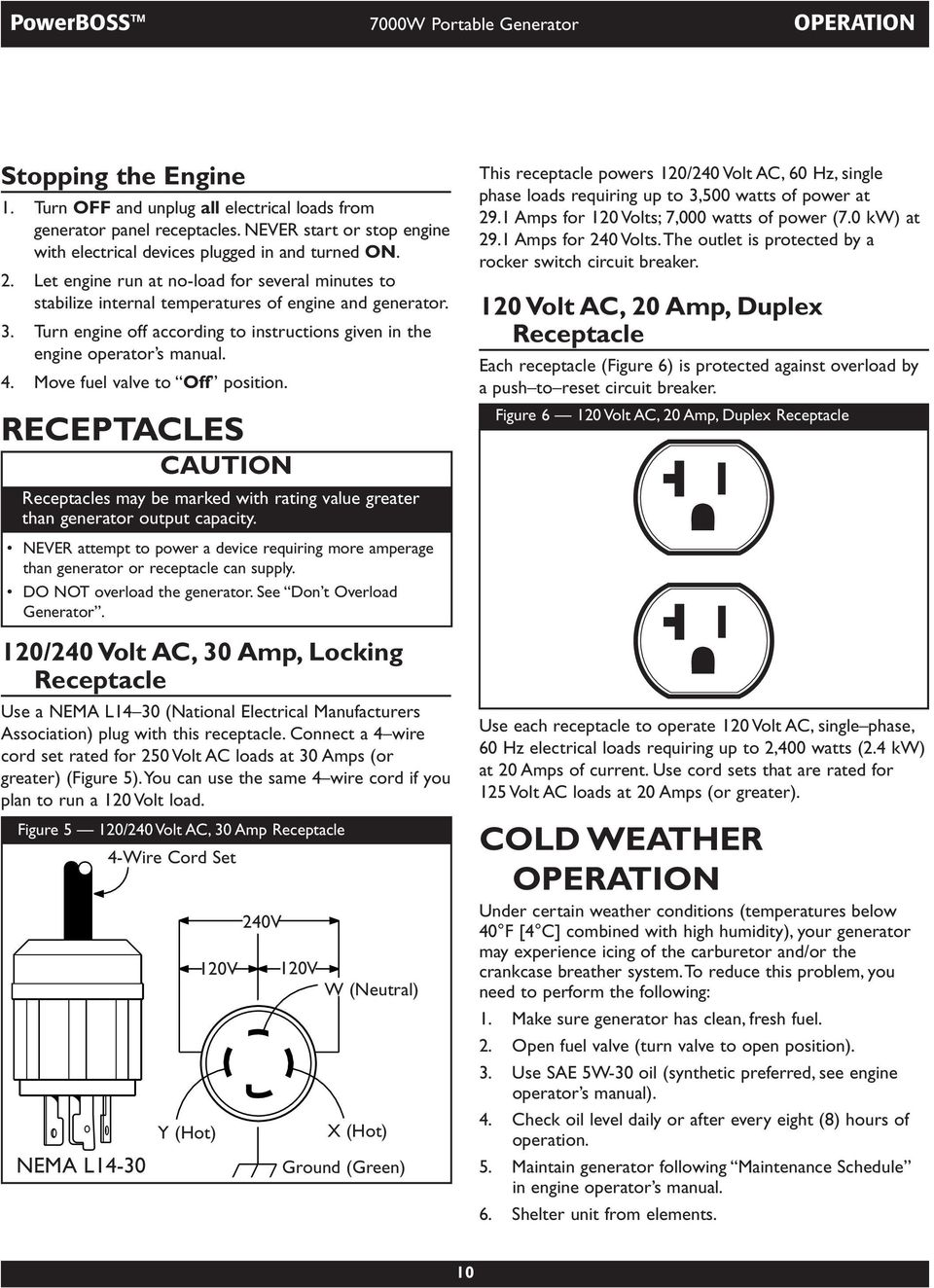 Model Modelo 7000w Operator S Manual Del Operario Briggs Plug Wiring Diagram Hecho Together With On 50 Amp 125v Turn Engine Off According To Instructions Given In The 4