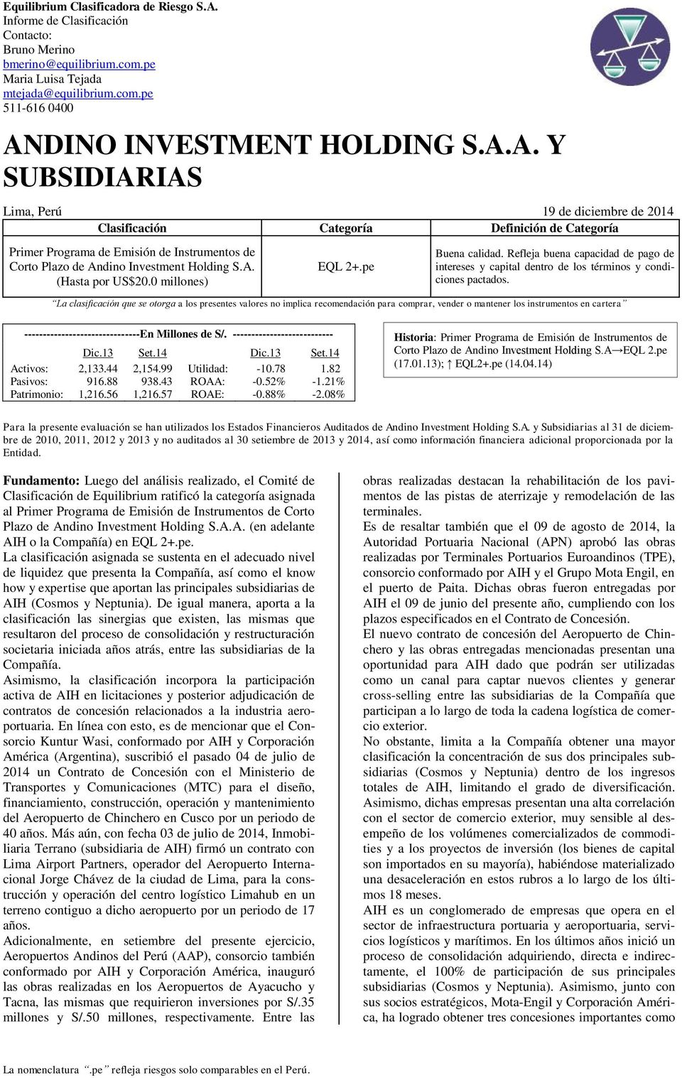 Andino investment holding gestion de riesgos mobella investments llc
