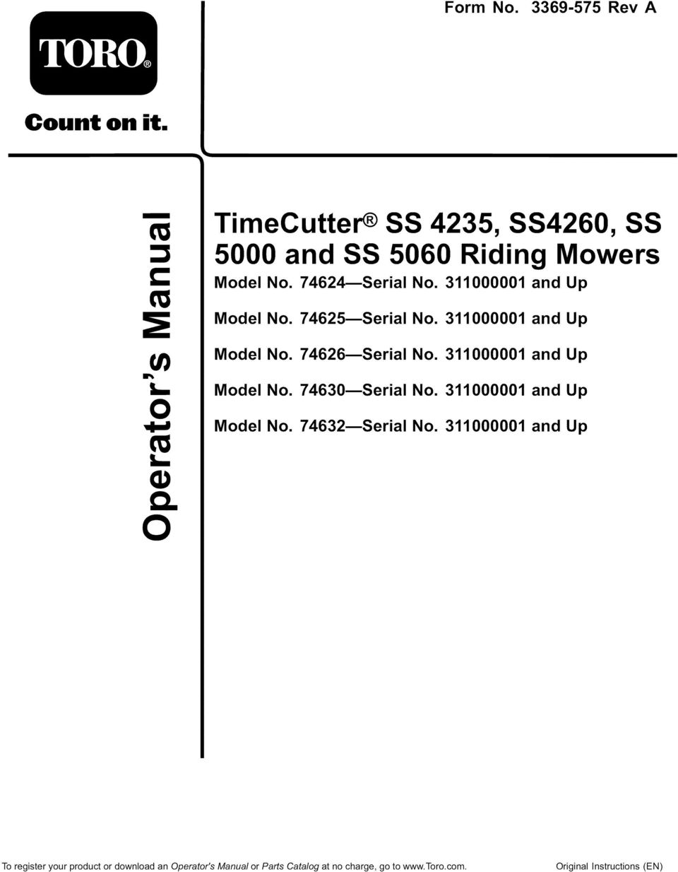 5000 And Ss 5060 Riding Mowers Pdf Toro Timecutter Wiring Diagram Under Seat Wires Up 0 Model No 74630 Serial 311000001 74632
