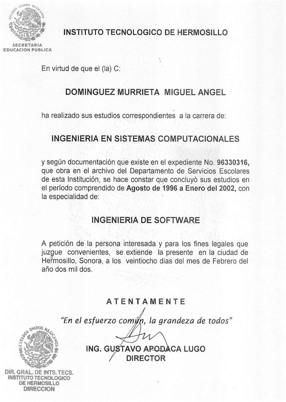 Curriculum Vitae Miguel Angel Dominguez Murrieta Datos Generales