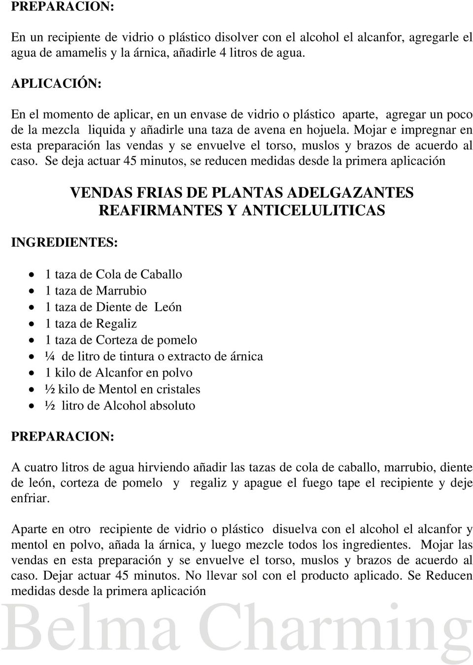 Vendas frias para adelgazar ingredientes