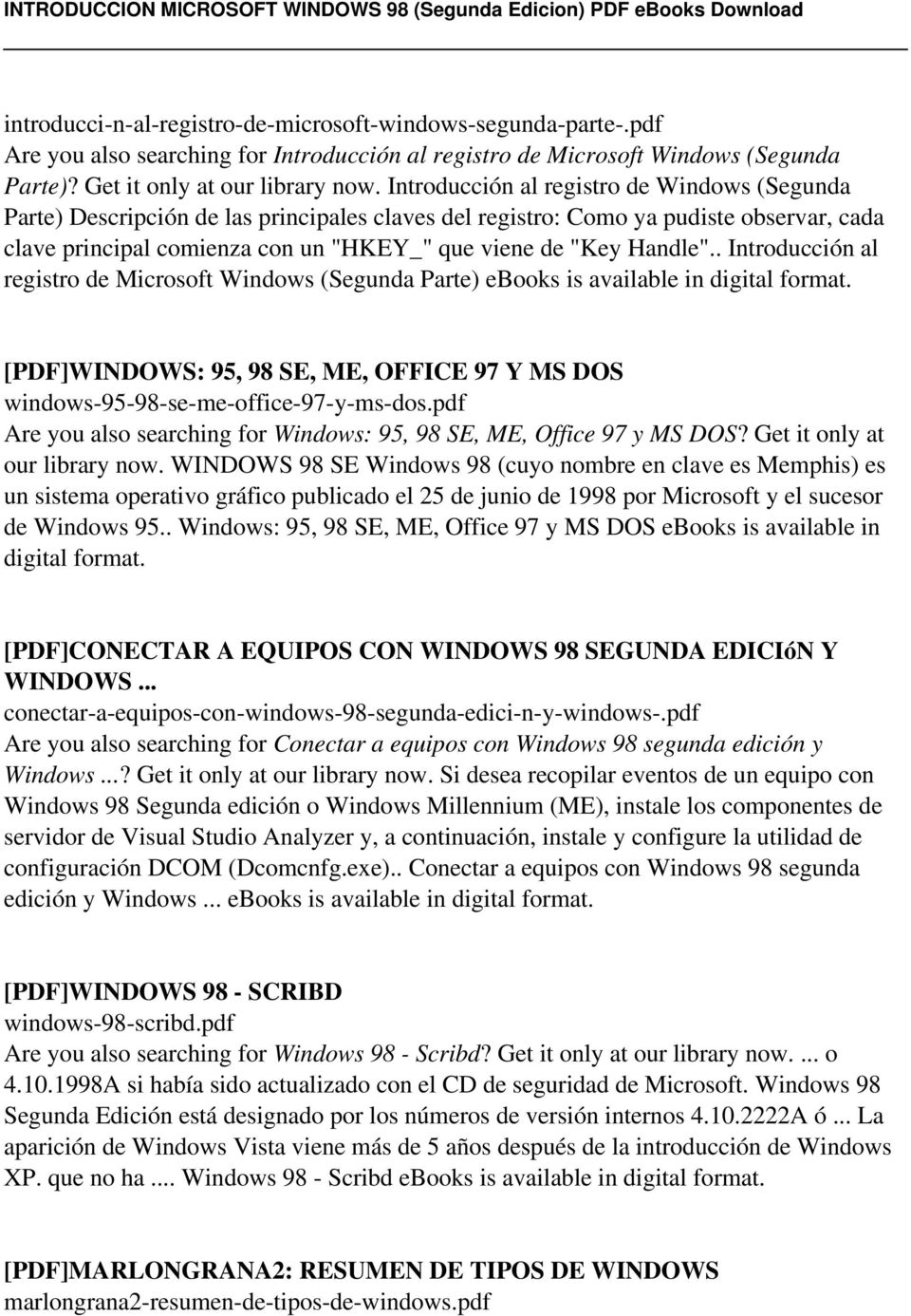 INTRODUCCION MICROSOFT WINDOWS 98 (Segunda Edicion) - PDF