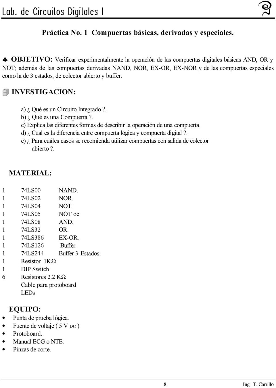 Circuito Not : Manual de circuitos digitales i pdf