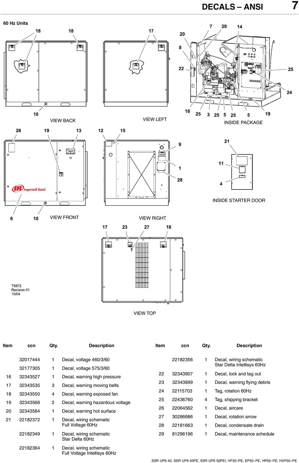 50 Kw Ingersoll Rand Wiring Schematic Electrical Diagrams T30 Diagram Ssr Up6 40 50pe 50pei Hf50 Pe Ep50 Hp50 Parts