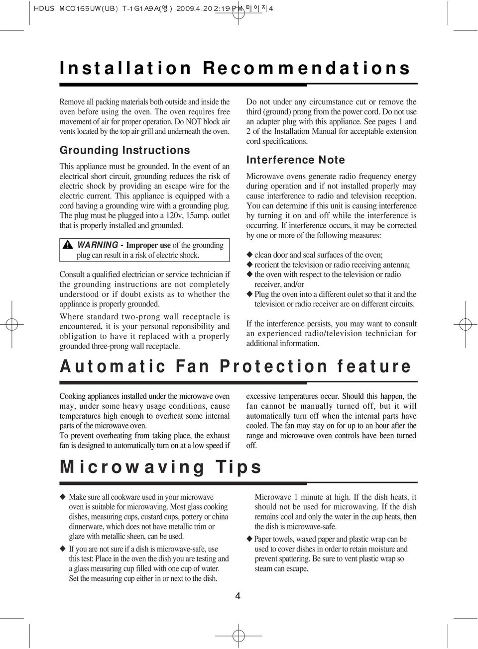 Microwave Oven Use And Care Manual Mco165uw Mco165ub Important Circuit In The Event Of An Electrical Short Grounding Reduces Risk Electric Shock