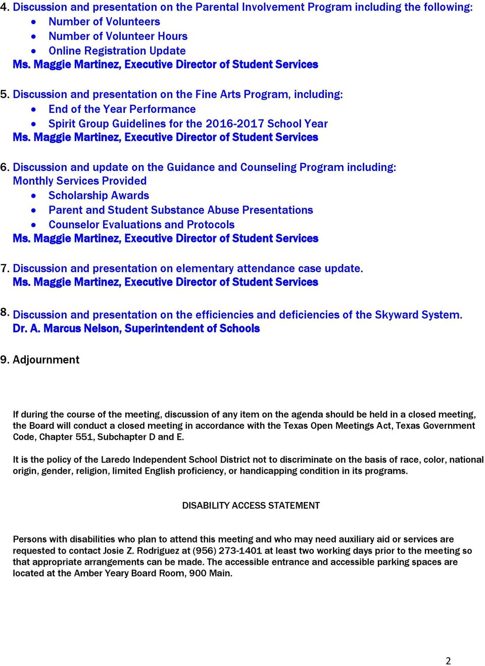 Laredo I.S.D. Board of Trustees Student Services Meeting Wednesday ...