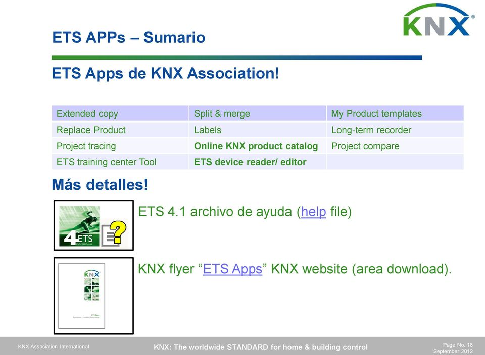 Project tracing Online KNX product catalog Project compare ETS training center Tool ETS device