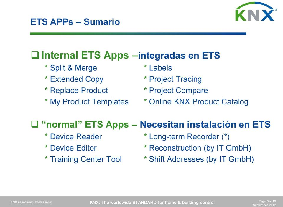 Apps Necesitan instalación en ETS * Device Reader * Long-term Recorder (*) * Device Editor *