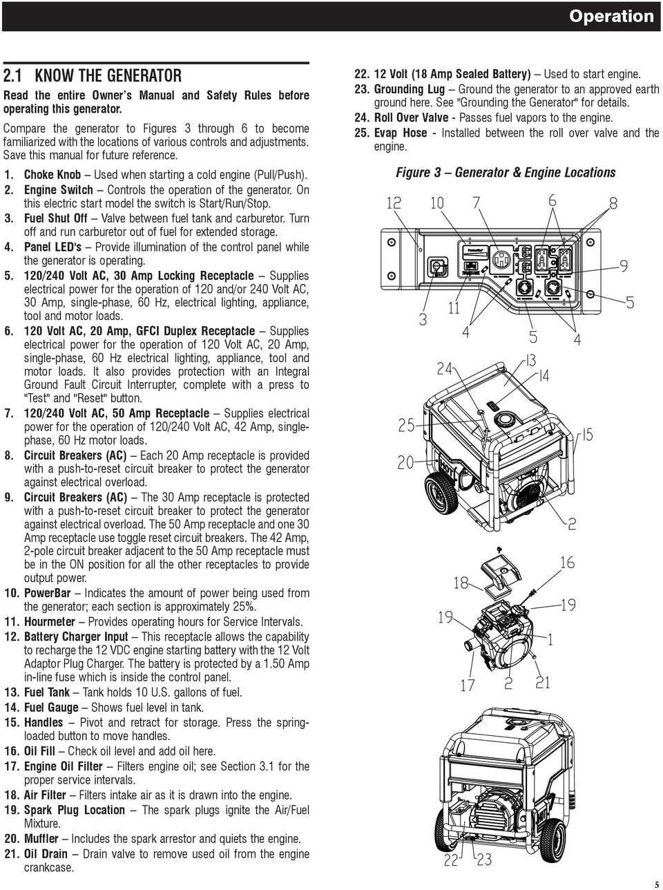 Owners Manual Xg Professional Series Portable Generator Model Or Identifying Critical Circuits To Run Off Of The Choke Knob Used When Starting A Cold Engine Pull Push 2
