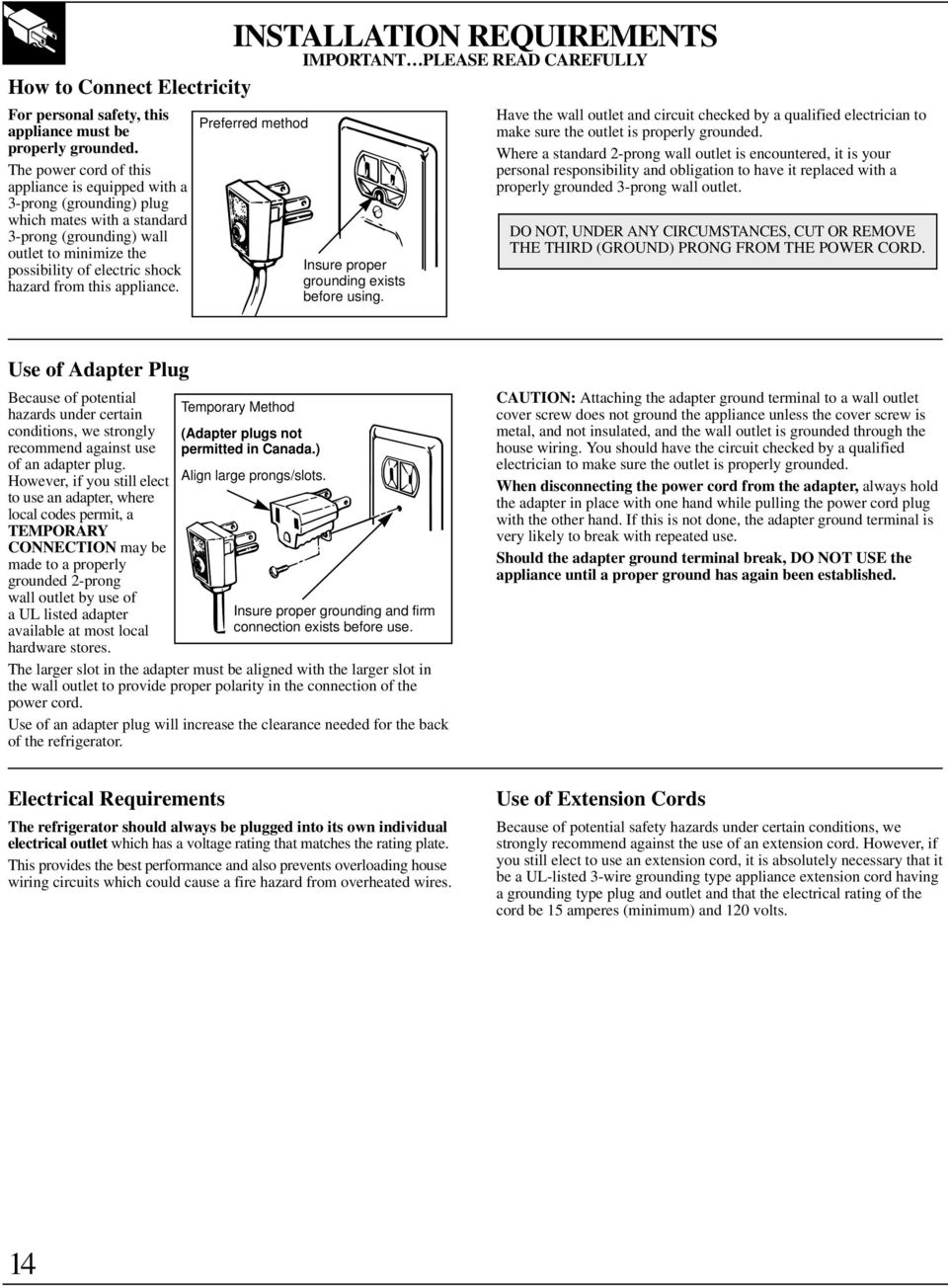 Useandcare Installation Guide Pdf House Wiring Experiment Viva Questions Appliance Preferred Method Insure Proper Grounding Exists Before Using Have The Wall Outlet And