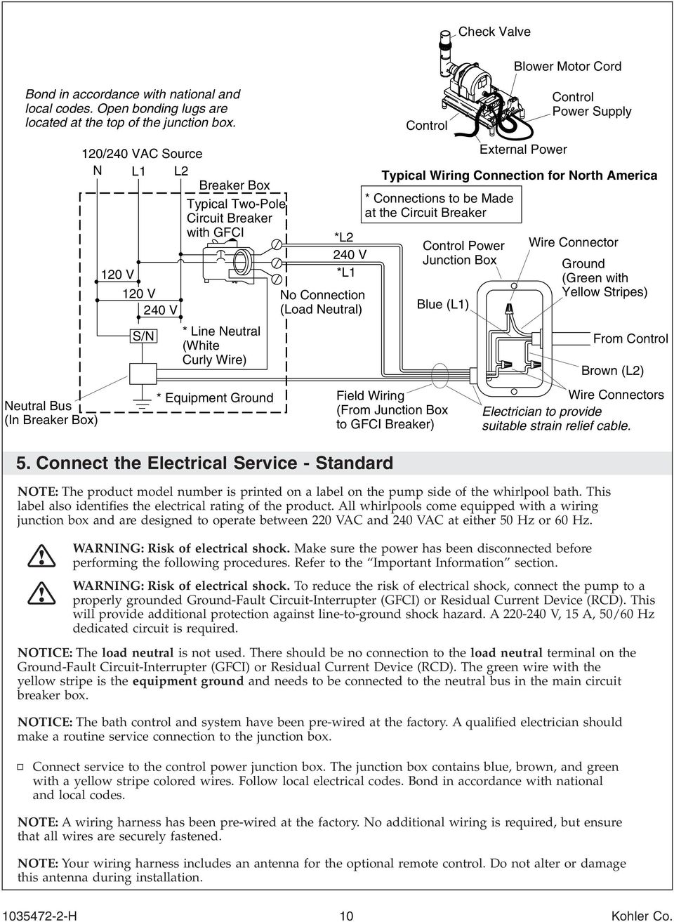 Installation Guide Bath With Airjets H K 1110 1158 1168 Circuit Breaker Apparatus And On Wiring 240 Volt Gfci No Connection Load Neutral 5