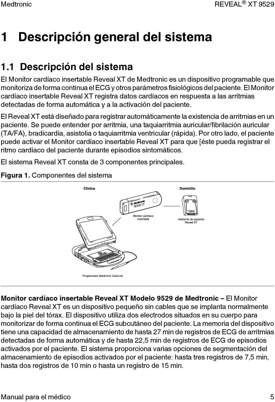 REVEAL XT Monitor cardíaco insertable. Manual para el médico - PDF