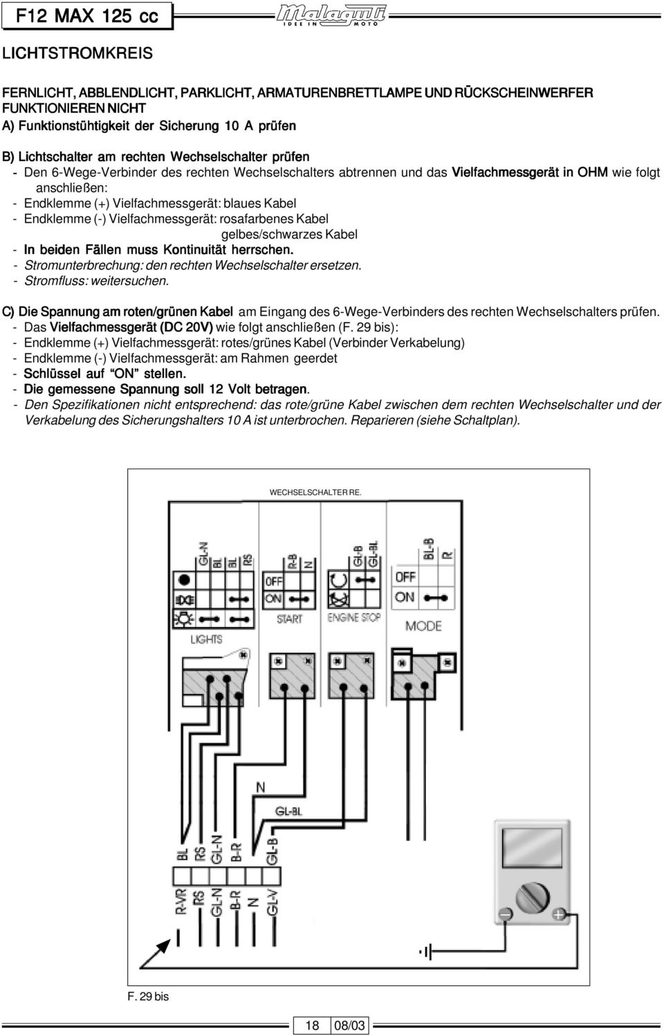 Language Index Elektrischen Anlage Electric System Depannage F12 Magneto Wiring Schematic Endklemme Vielfachmessgert Rosafarbenes Kabel Gelbes Schwarzes In Beiden Fllen