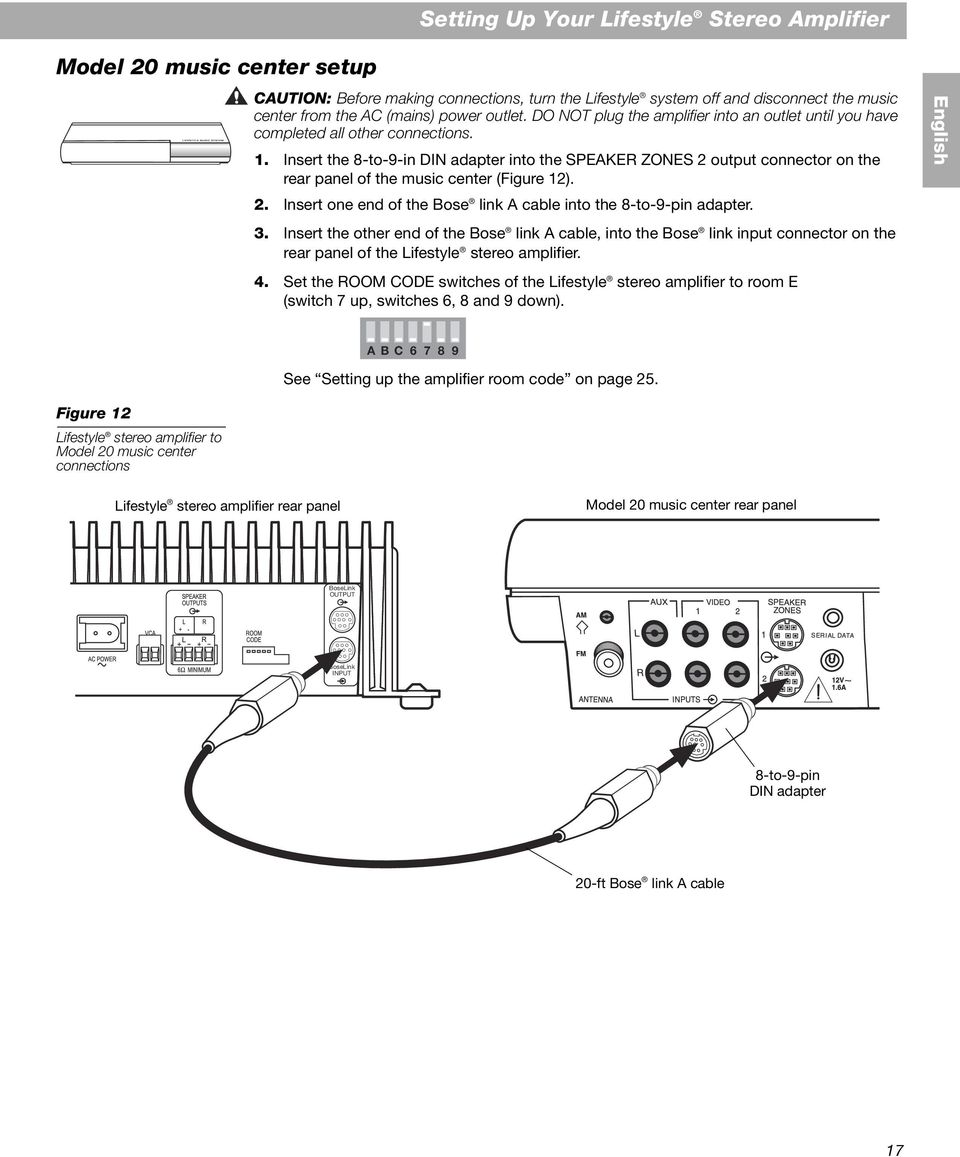 The Bose Lifestyle Sa 2 And 3 Stereo Amplifier Pdf Link Cable Wiring Diagram A 17 Insert 8 To 9 In Din Adapter Into Speaker Zones