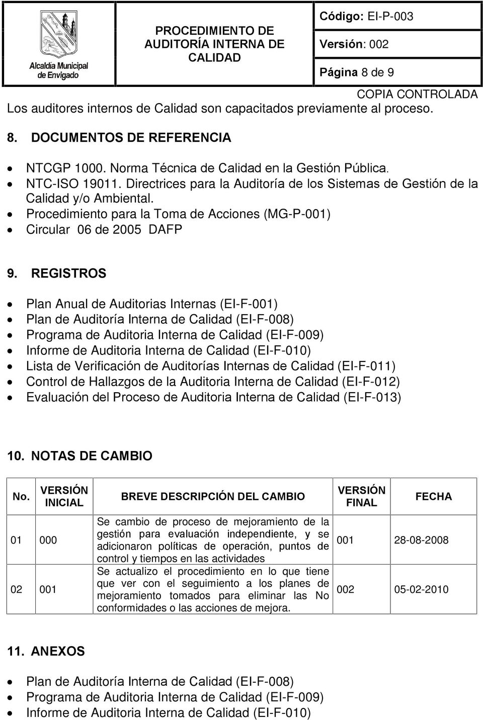 REGISTROS Plan Anual de Auditorias Internas (EI-F-001) Plan de Auditoría Interna de Calidad (EI-F-008) Programa de Auditoria Interna de Calidad (EI-F-009) Informe de Auditoria Interna de Calidad