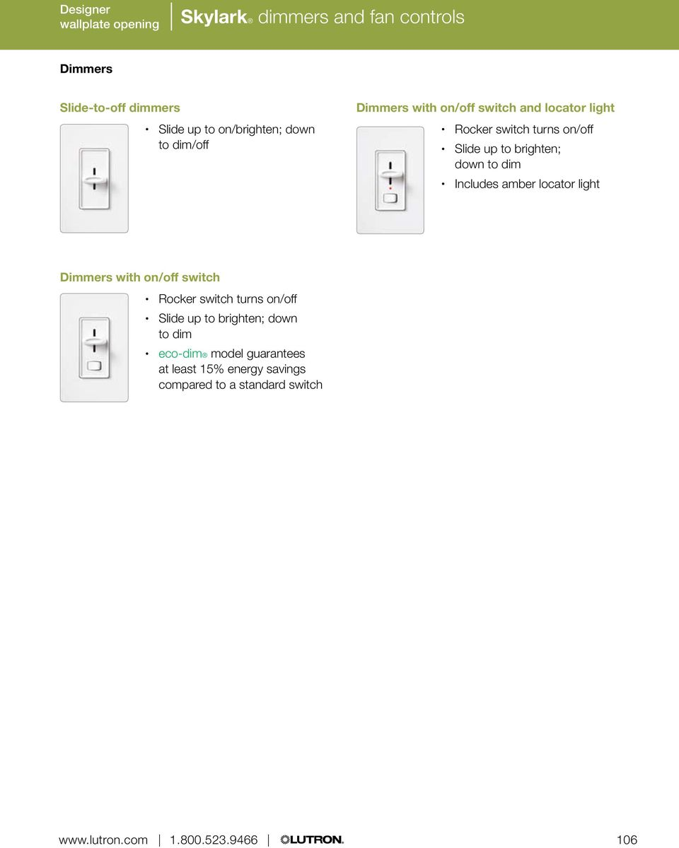 Skylark Dimmers And Fan Controls Pdf Light Control Wiring Diagram Lutron S2 Lfsq To Brighten Down Dim Includes Amber Locator With On Off Switch