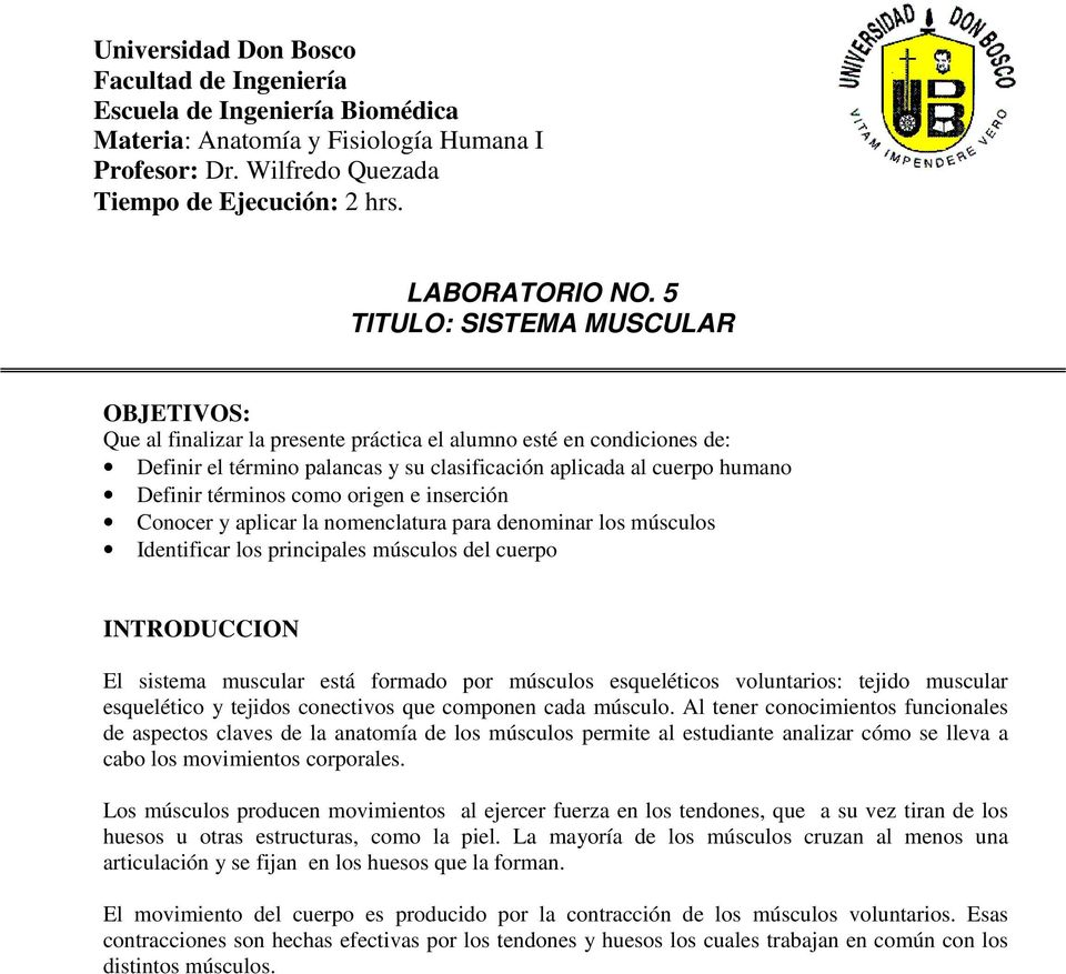 LABORATORIO NO. 5 TITULO: SISTEMA MUSCULAR - PDF