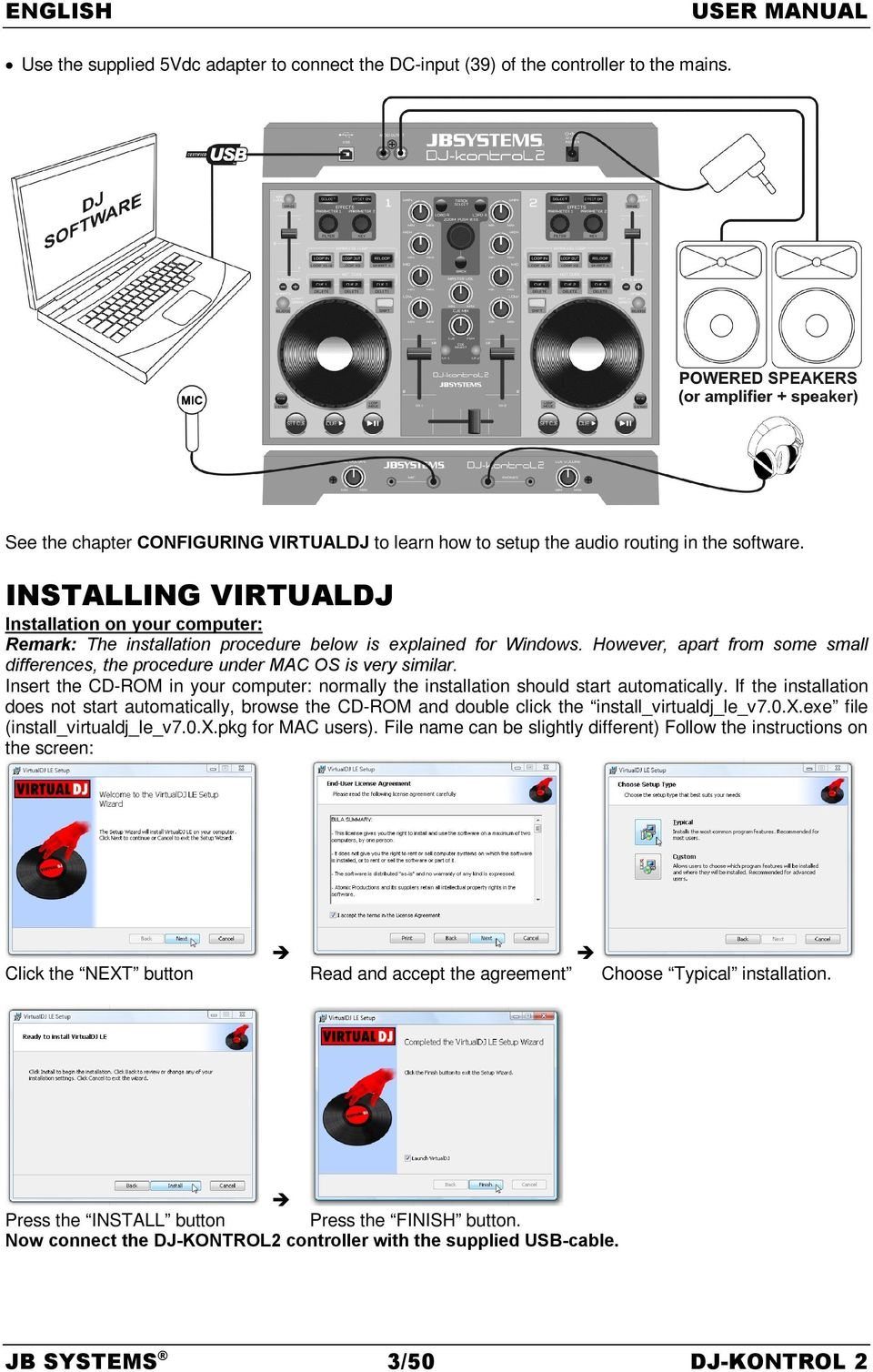 Operation Manual Features Before Use Jb Systems 1 50 Dj Kontrol 2 Pdf Virtualdj Wiring Diagram Installing Installation On Your Computer Remark The Procedure Below Is Explained For
