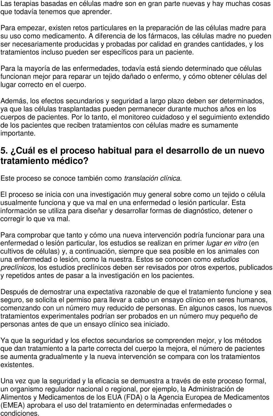 manual del paciente sobre terapias con células madre para la diabetes