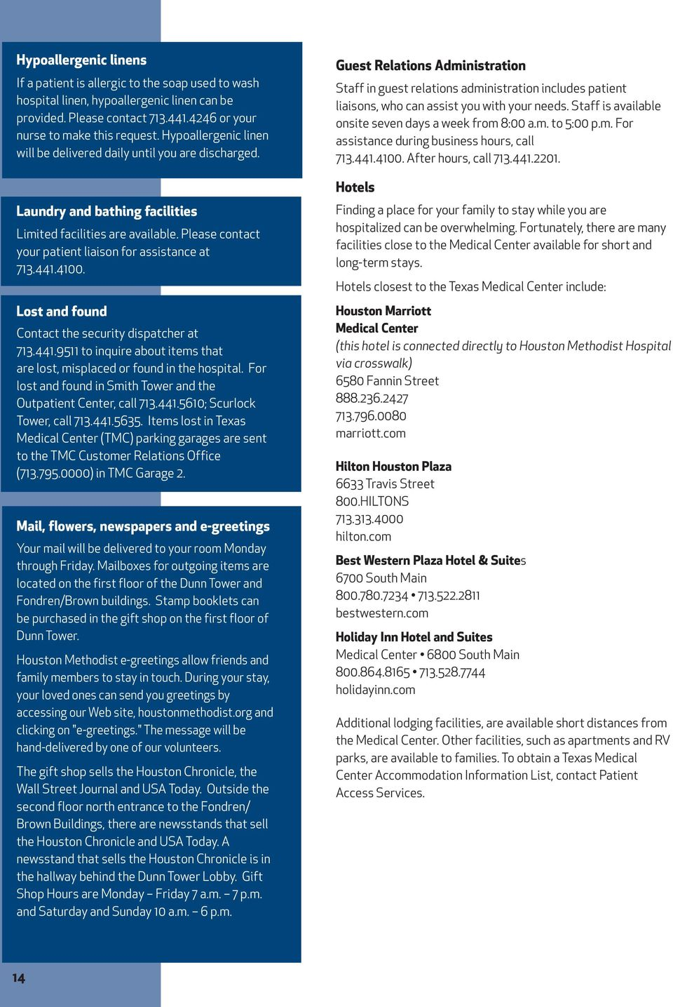 TABLE OF CONTENTS  A Word from Houston Methodist Hospital
