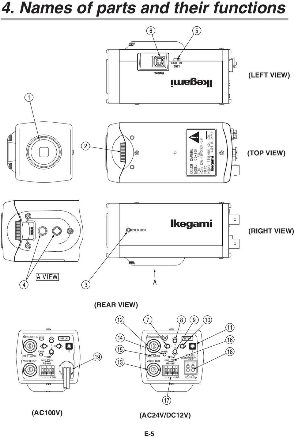 Icd 809 Instruction Manual Model Ntsc Version Color Camera Genlock Wiring Diagram Made In Japan Top View Right 4 A 3