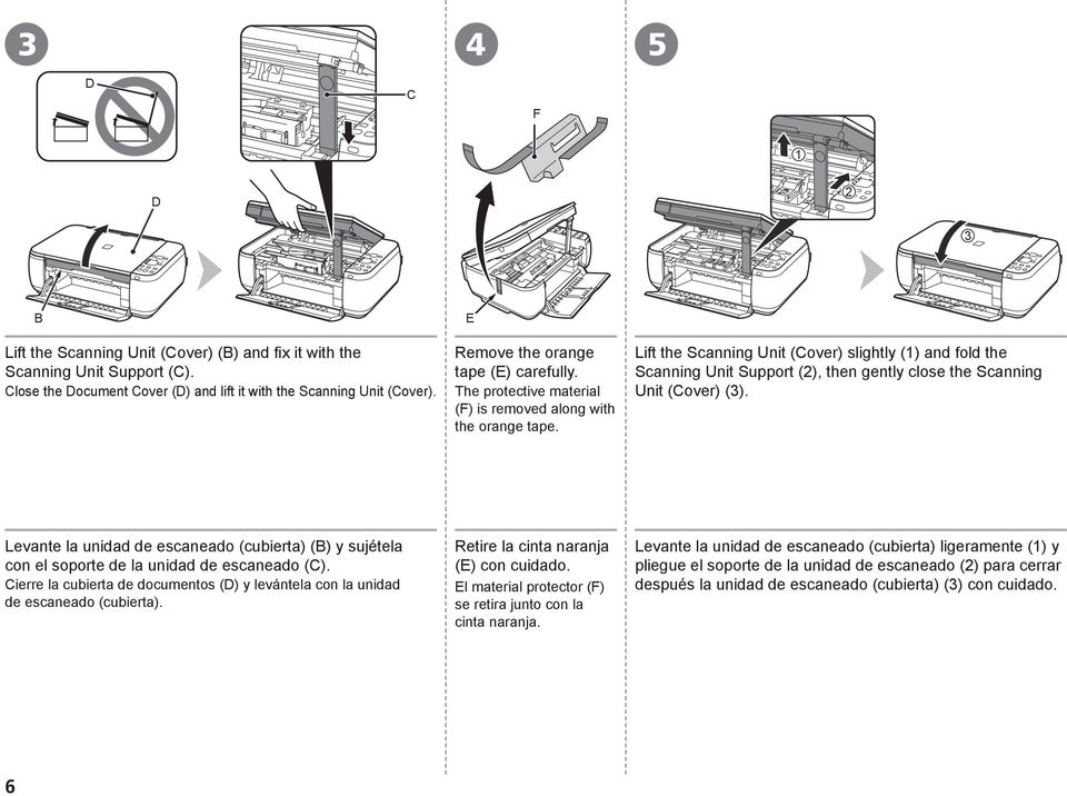 Lift the Scanning Unit (Cover) slightly (1) and fold the Scanning Unit Support (2), then gently close the Scanning Unit (Cover) (3).