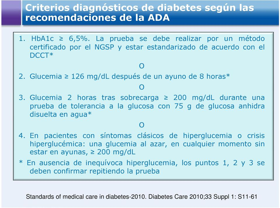 diagnóstico de diabetes segun ada