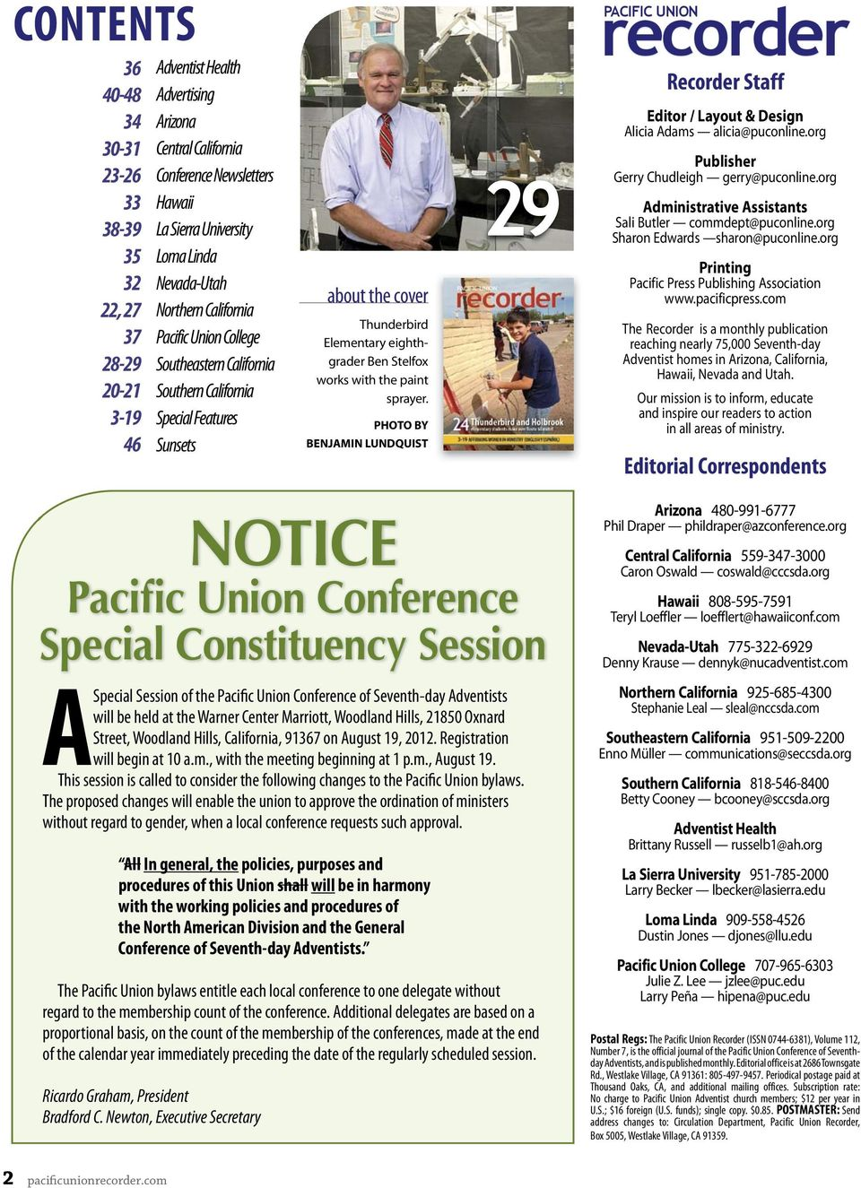 PACIFIC UNION CONNECTING THE PACIFIC UNION ADVENTIST FAMILY