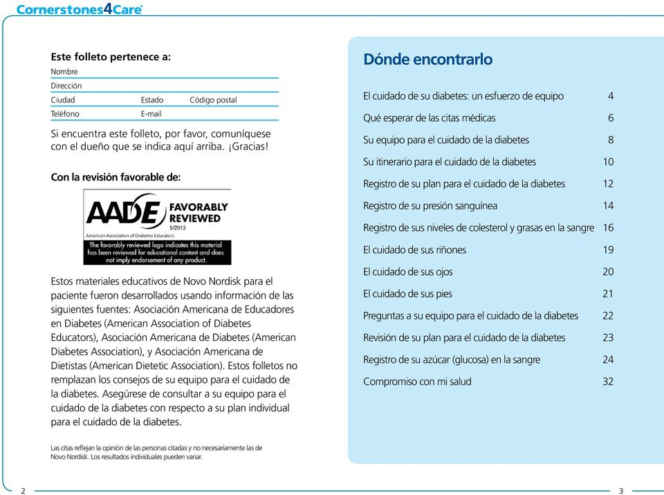 registro de cuidado de la diabetes