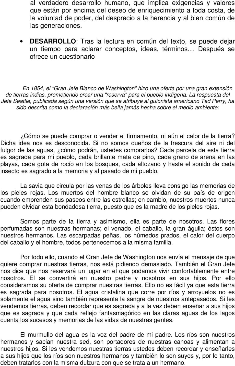 CARTA DEL JEFE INDIO SEATTLE AL PRESIDENTE DE EEUU, FRANKLIN PIERCE ...