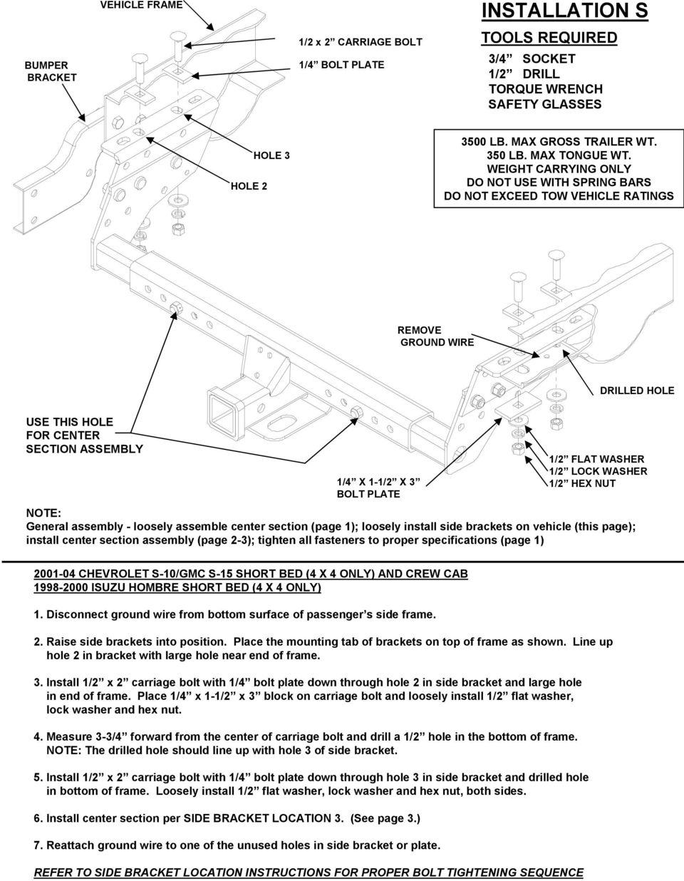 Installation Instructions Small Pickup Multi Fit Pdf 97 Blazer Wiring Diagram Washer Weight Carrying Only Do Not Use With Spring Bars Exceed Tow Vehicle Ratings Remove