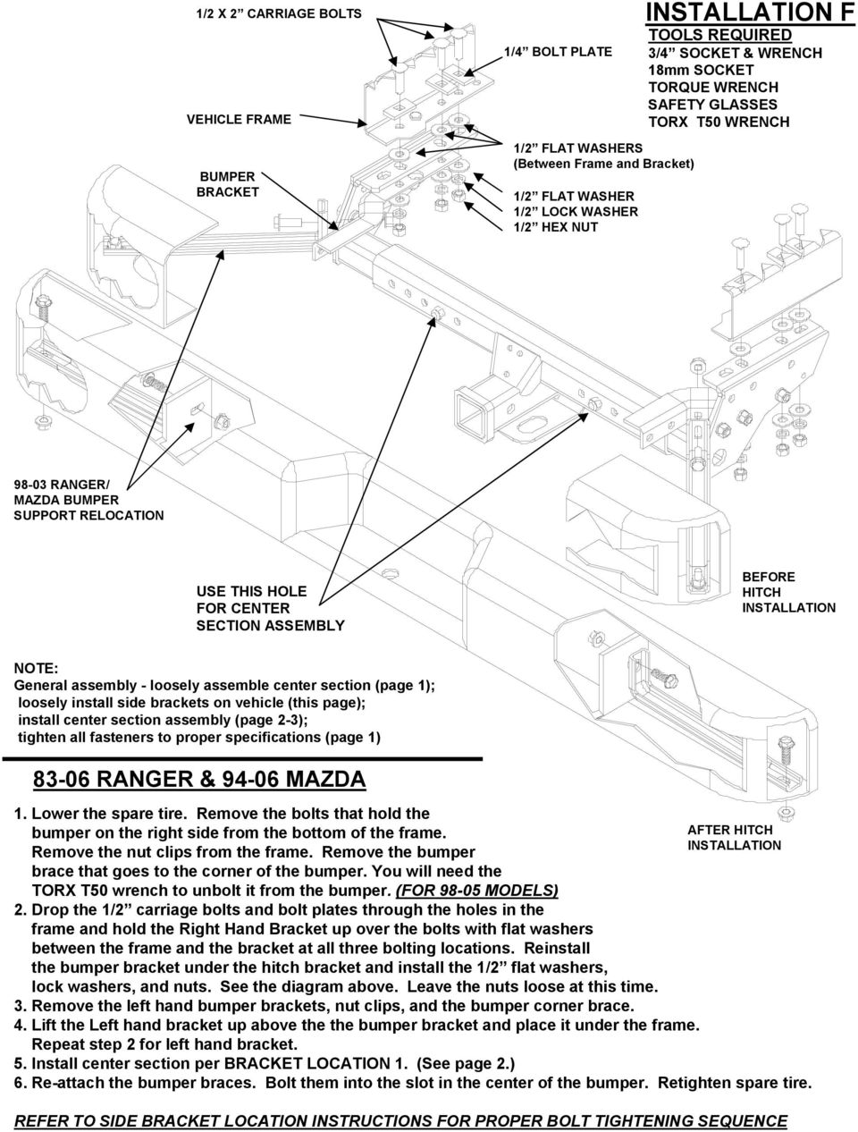 Installation Instructions Small Pickup Multi Fit Pdf 97 Blazer Wiring Diagram Washer Assembly Loosely Assemble Center Section Page 1 Install Side Brackets On
