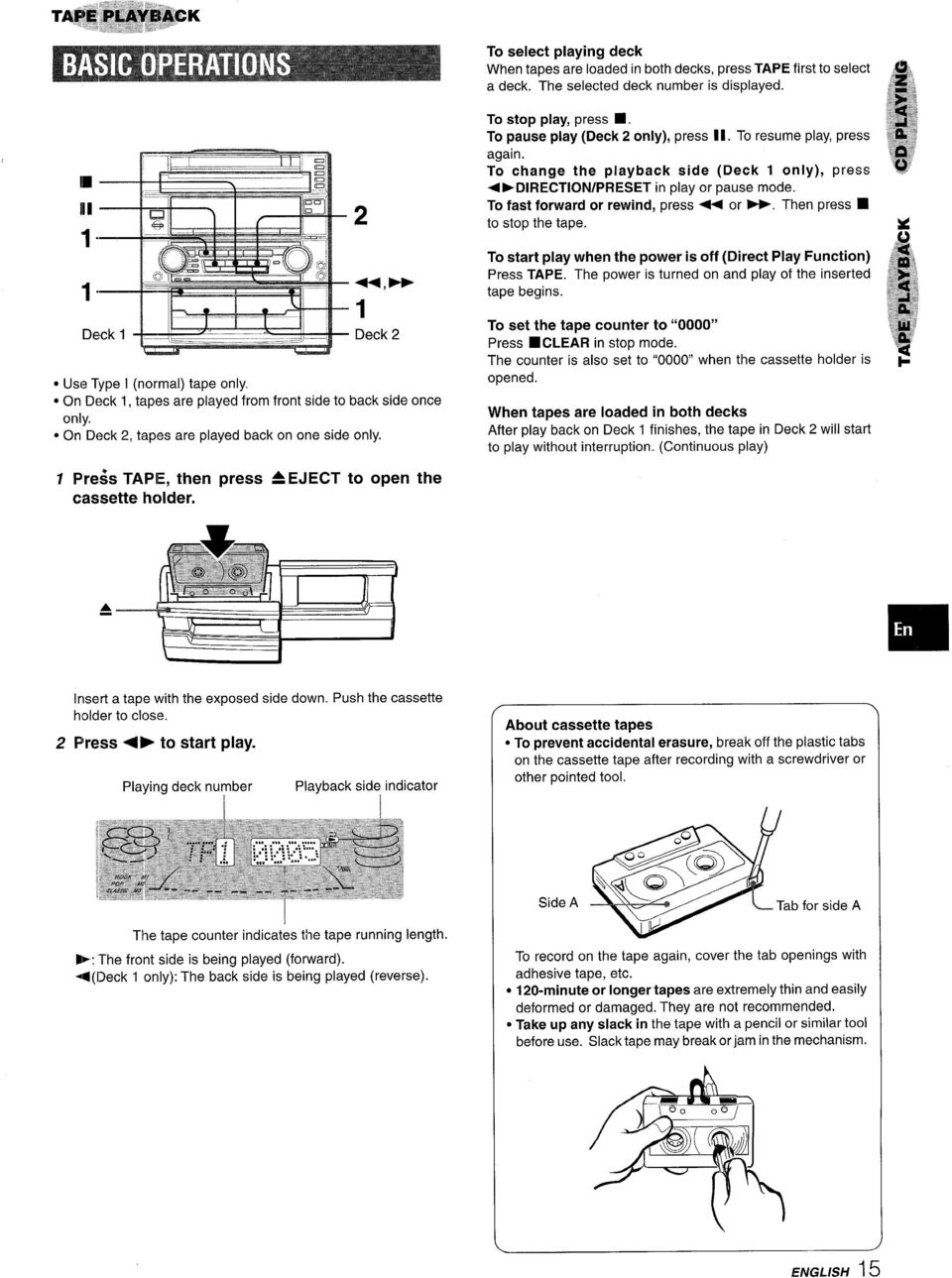 For Assistance And Information Call Toll Free I 800 Buy Aiwa Schematic Diagrams Circuits 600 Watt Hifi Power Amplifiers Pa600 To Change The Playback Side Deck Only Press 4 Dlrect0n Preset