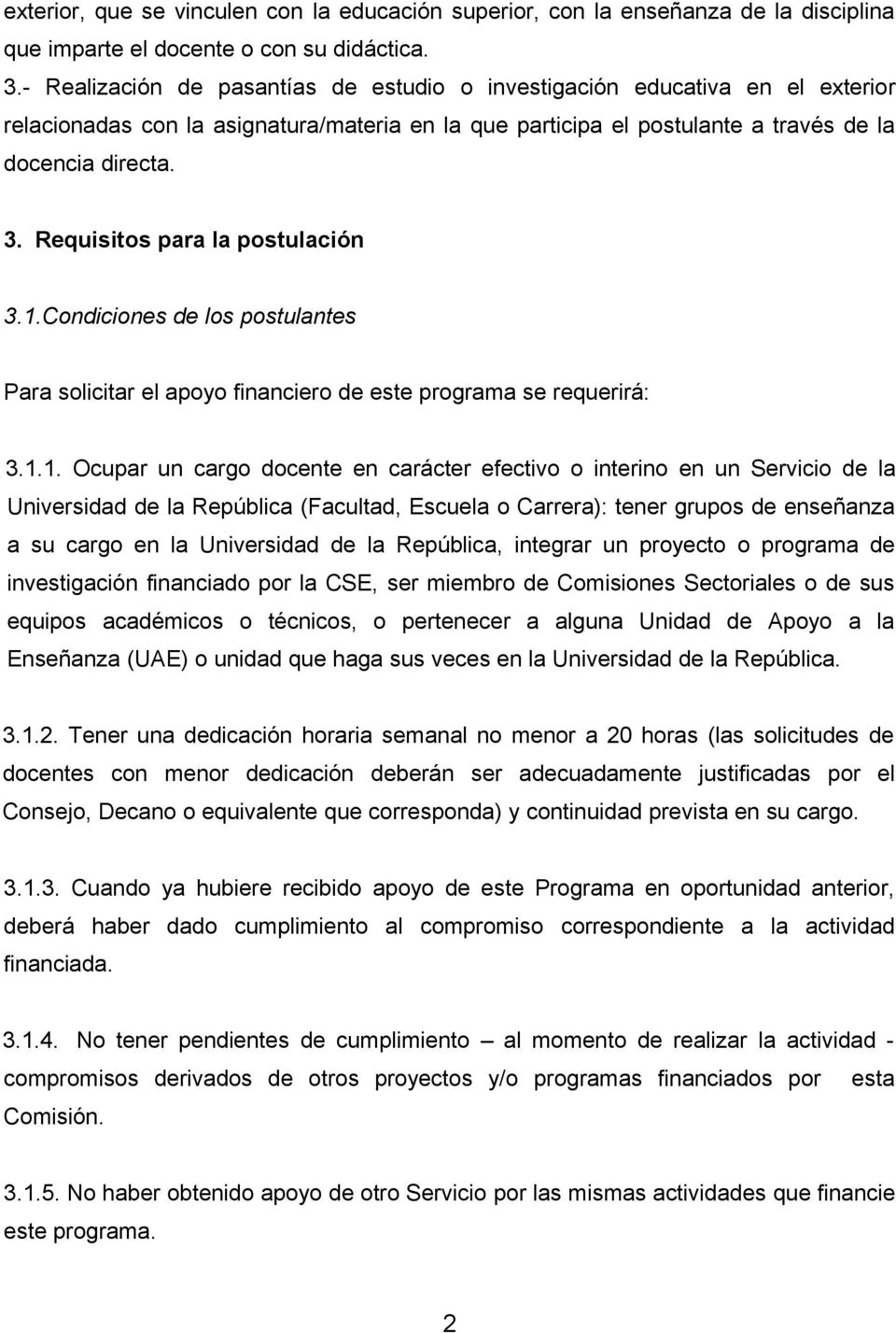 Requisitos para la postulación 3.1.