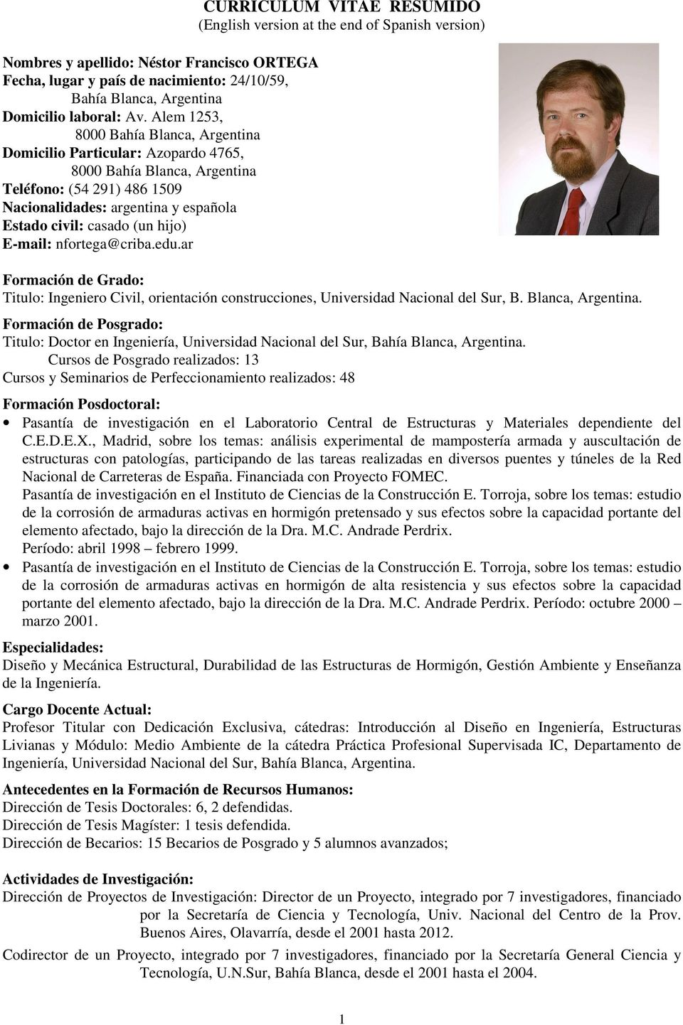 CURRICULUM VITAE RESUMIDO (English version at the end of Spanish ...