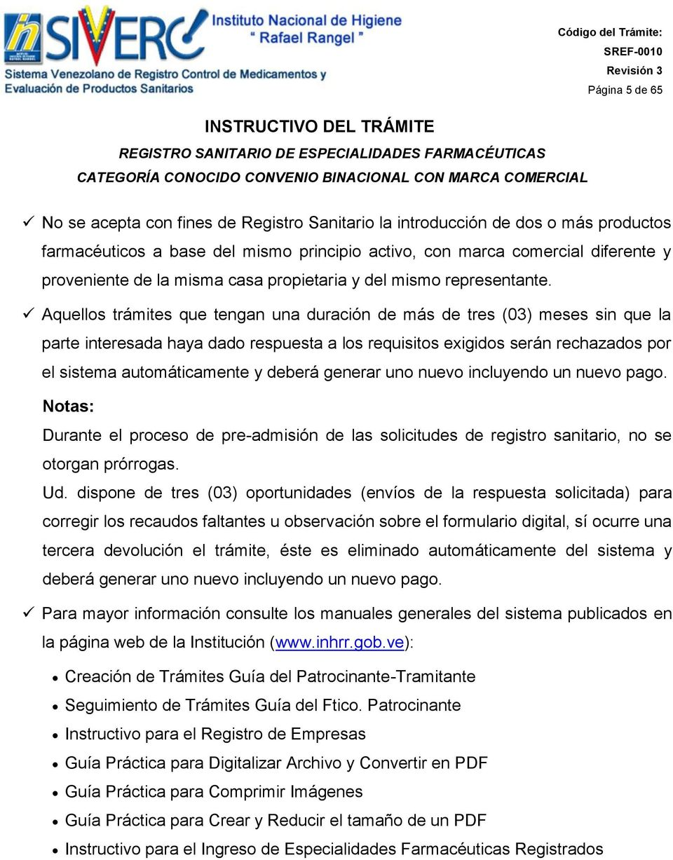 INSTRUCTIVO DEL TRÁMITE REGISTRO SANITARIO DE ESPECIALIDADES ...